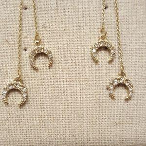 Jewelry - Dangling Double Horn Earrings